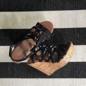 Mossimo Black Lace Up Wedges